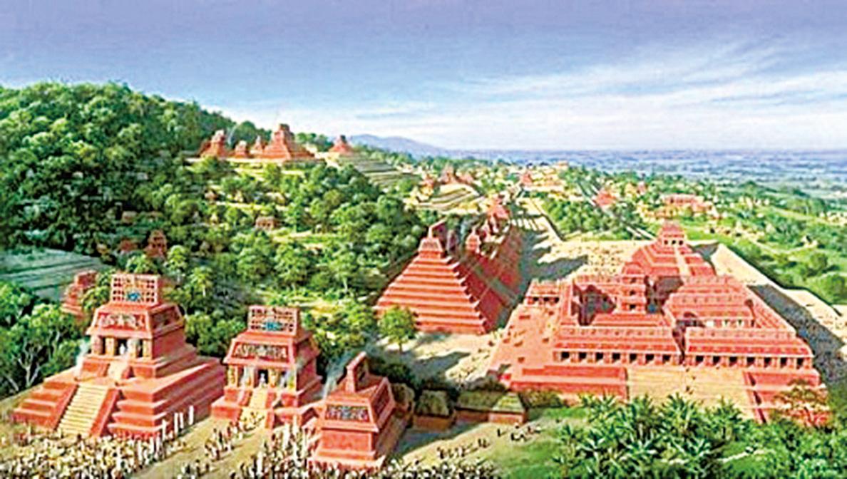 電腦製圖恢復了瑪雅古城Holtum的粗略面貌。(網絡截圖)