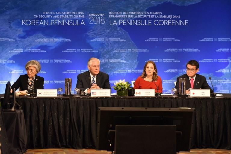 2018年1月16日20國外長在溫哥華舉行「朝鮮半島安全與穩定外長會議」。(AFP PHOTO/Don MacKinnon)