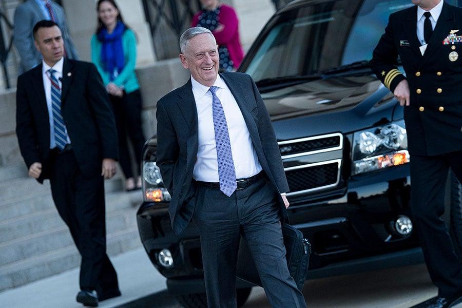 美國國防部部長馬蒂斯(Jim Mattis)。(AFP PHOTO/Brendan Smialowski)