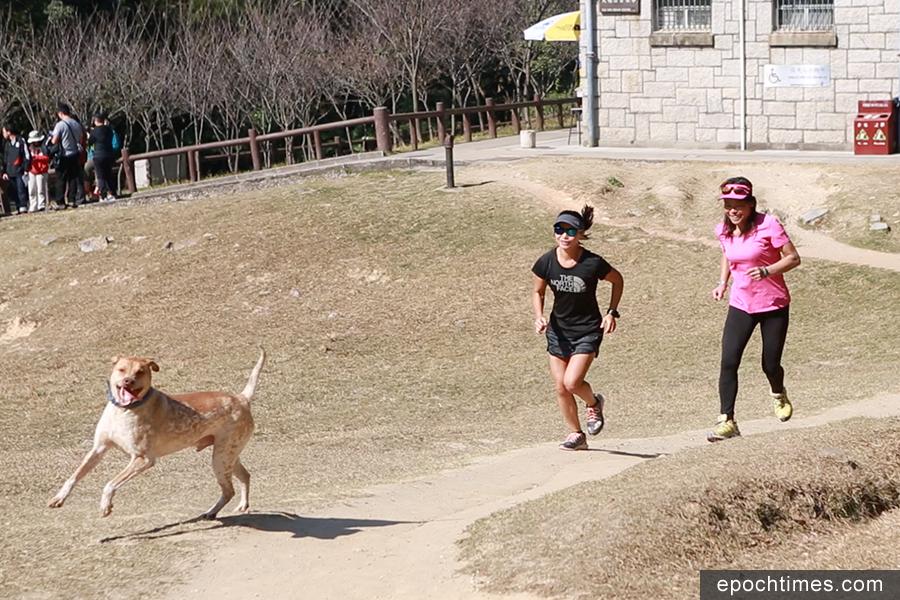 蓮姐與契女周佩欣一起跑步。(陳仲明/大紀元)