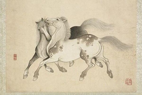 清冷枚畫馬 冊 七。(台北國立故宮博物院)