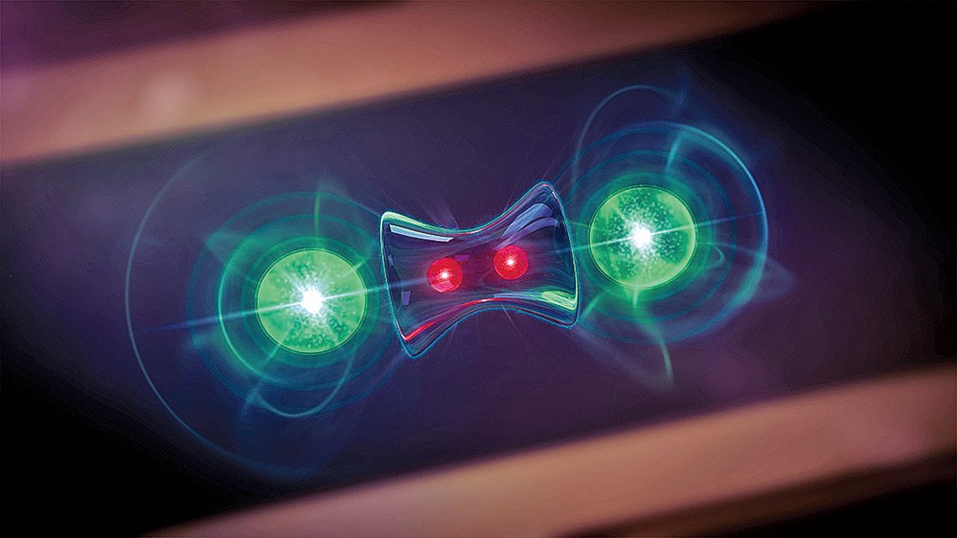 「量子糾纏」的模擬圖。(National Institute of Standards and Technology)