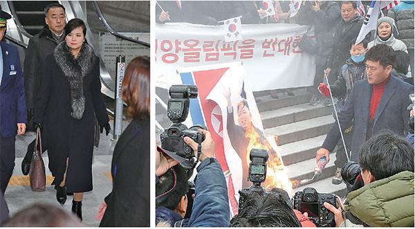 被韓國傳媒稱為北韓領導人金正恩的緋聞女友「三池淵樂團」團長玄松月(左圖)率團到訪南韓,逾百南韓民眾到其途經處抗議;而玄松月的打扮風格一改北韓女子的「硬朗作風」,也成為傳媒報道焦點。(Getty Images)