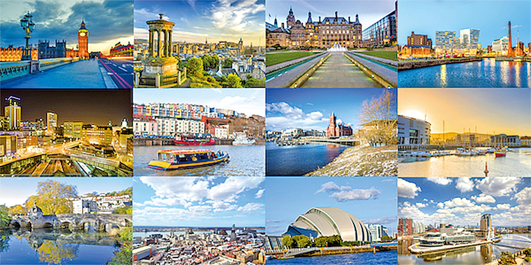 英國12大城市:愛丁堡、貝爾法斯特、伯明翰、布拉德福德、布里斯托爾、卡迪夫、格拉斯哥、利茲、利物浦、倫敦、曼徹斯特和謝菲爾德。(大紀元合成圖片)