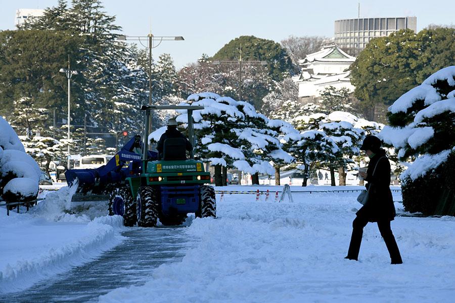 22日,日本氣象廳對東京發出4年來首個大雪警報,23日凌晨已解除大雪警報。(AFP PHOTO/Toshifumi KITAMURA)