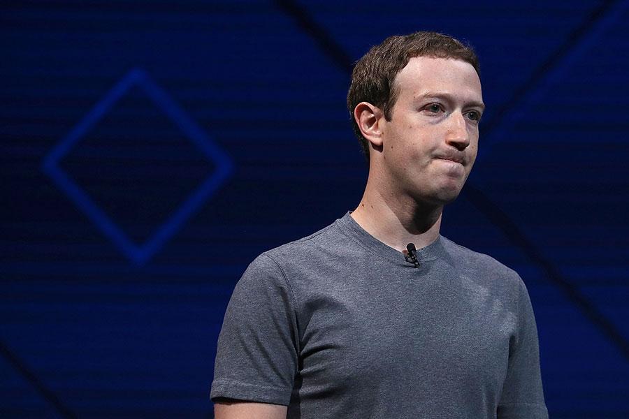 圖為Facebook的創始人兼行政總裁朱克伯格。(Justin Sullivan/Getty Images)