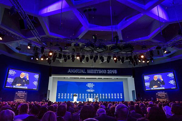 第48屆世界經濟論壇(達沃斯論壇)昨日開幕,印度總理莫迪在開幕禮上發言。而美國總統特朗普的出席,將是今次論壇焦點。(Getty Images)