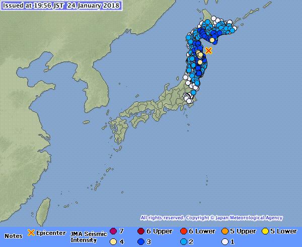 日本氣象廳在當地時間今日下午7時51分錄得一次黎克特制6.2級地震,震央位於北海道南部、青森縣以東海域,震源深度30公里,屬淺層地震。(日本氣象廳)