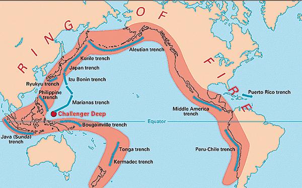 「太平洋火環帶」(Pacific Ring of Fire)為地震密集區,全球大部份地殼俯衝帶均在區內。(美國地質局)