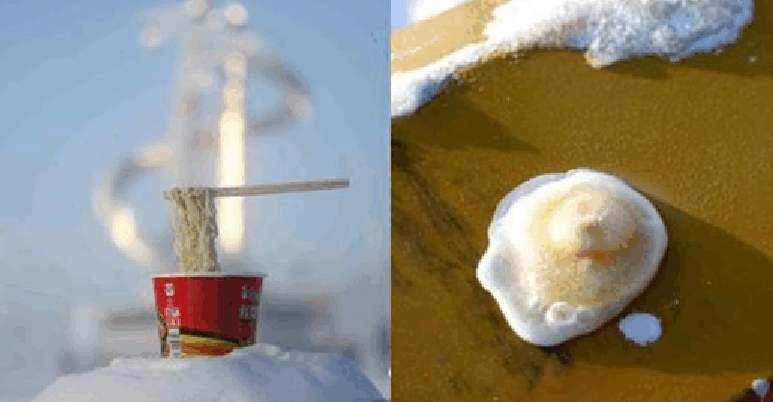 杯麵凍成「冰川」,雞蛋成「冰蛋」。(視像擷圖)
