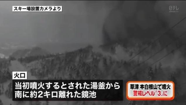 日本群馬縣草津白根山1月23日傳出火山噴發,並造成草津町的草津國際滑雪場雪崩,已知有14人受傷,1人失蹤。(影片擷圖)