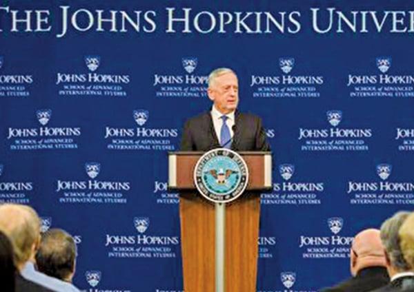 美防長馬蒂斯周五(1月19日)發佈《國防戰略報告》。(美國國防部網站)
