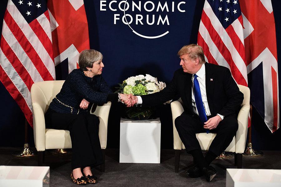 特朗普文翠珊達沃斯會談 敲定年內出訪英國