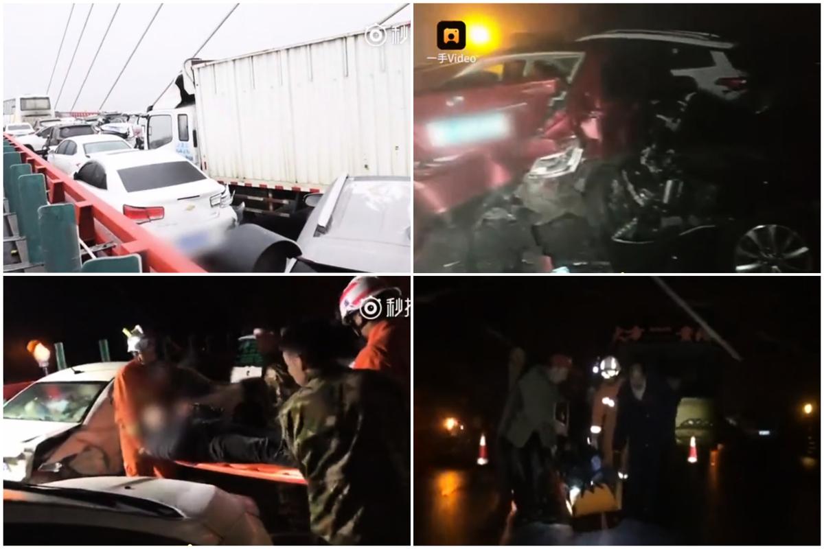 1月26日,貴黔高速鴨池河大橋路段上百輛車連環相撞。(大紀元合成圖)