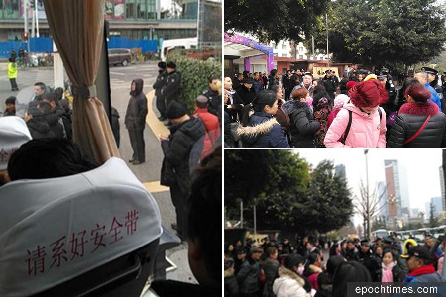 四川訪民在成都「兩會」會場外表達訴求,遭到警察及截訪人員攔截。(自由亞洲電台)