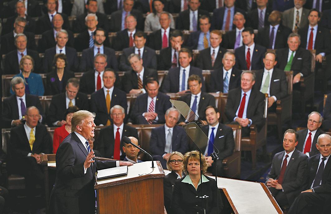 特朗普總統去年2月28日在國會聯席會議首次發表演說。(Getty Images)