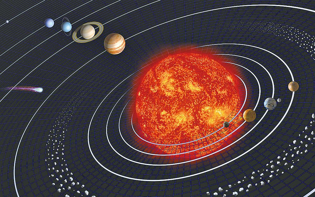 太陽系及其九大行星模式圖。(pixabay)