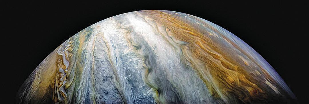 圖像顯示的是木星充滿活力的雲帶和風暴。(NASA)