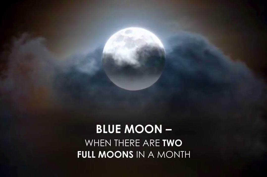 藍月是指一個月內兩次圓月。(NASA視像擷圖)