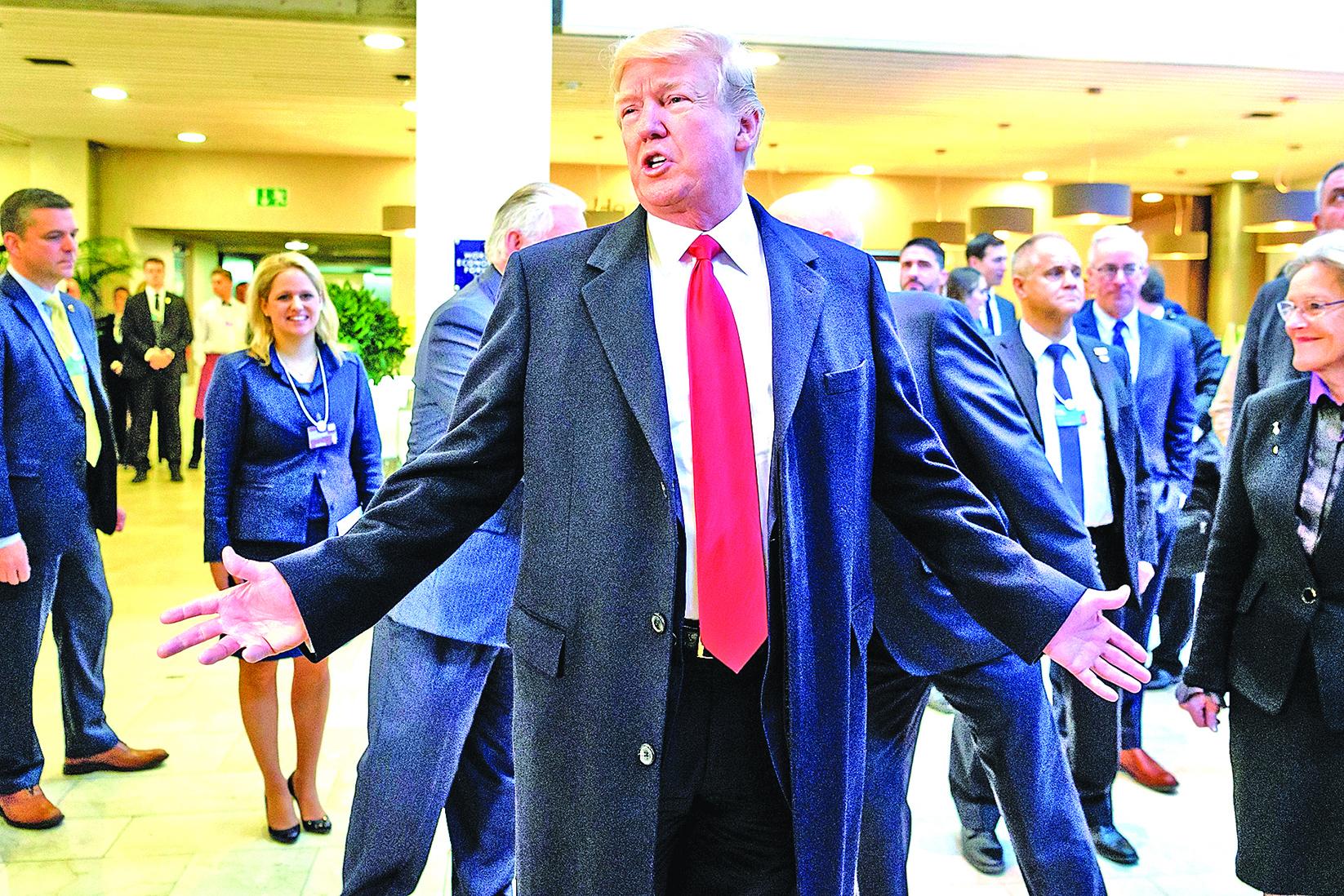 特朗普在達沃斯展現了對自己「美國優先」理念的自信。(AFP)