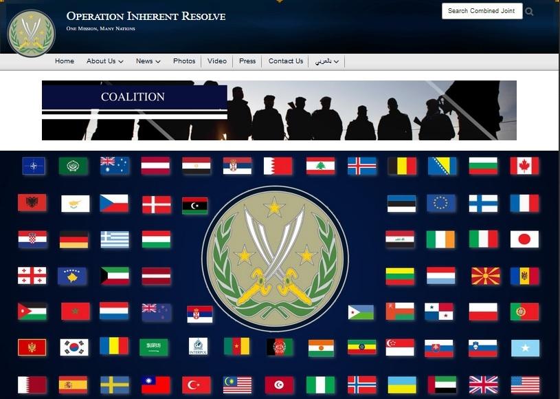 美國反恐組織官網「堅定決心行動」日前被發現,網頁上的中華民國國旗遭撤,1月29日官網已將中華民國國旗回復在網頁上。(堅定決心行動官網 www.inherentresolve.mil)