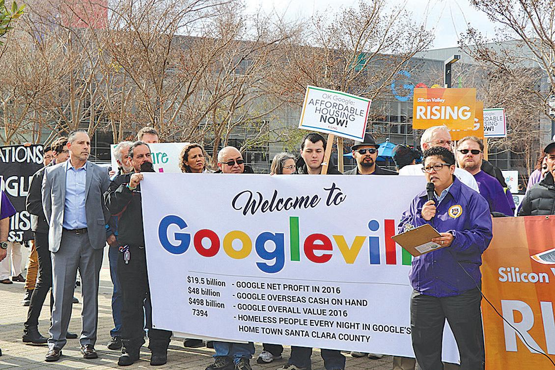 矽谷崛起等組織舉行抗議活動,要求谷歌提出解決方案。(景雅蘭∕大紀元)