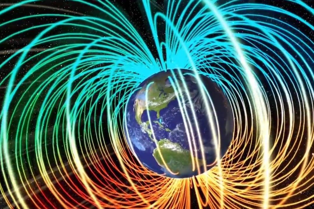 科學家觀測到,地磁的兩極可能發生「天翻地覆」的翻轉。(美國太空總署Youtube視像擷圖)