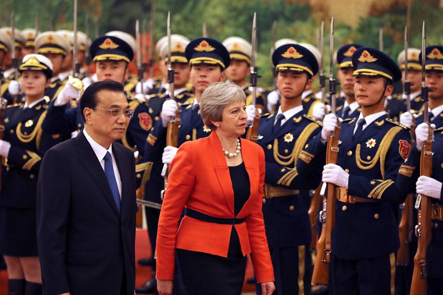 1月31日英國首相文翠珊訪華。(Dan Kitwood/Getty Images)