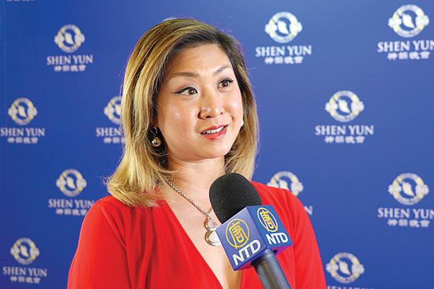 前馬來西亞國際華裔小姐選美冠軍、電視主持人陳影雯。( 新唐人電視台)