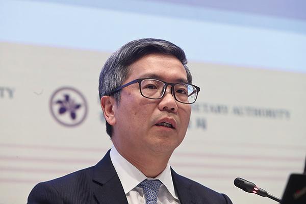 金管局副總裁阮國恒指,今年本港銀行體系存在有六大主要潛在風險,希望大家必須審慎管理好風險。(余鋼/大紀元)