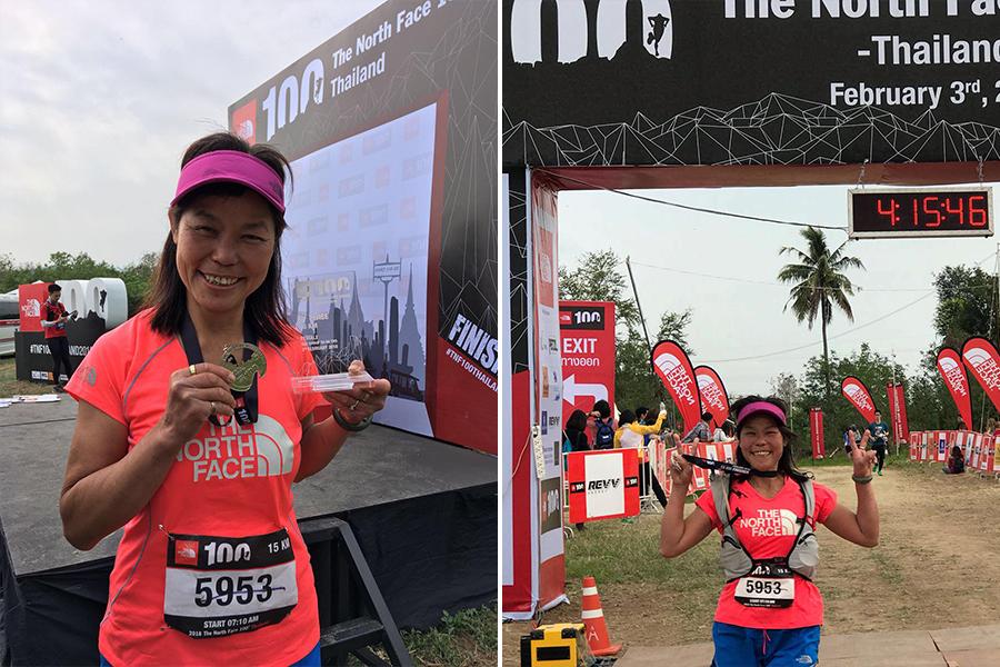 蓮姐首度離港參加海外賽,榮獲15公里組別季軍。圖為蓮姐在賽事現場。(大帽山茶水亭Facebook專頁)