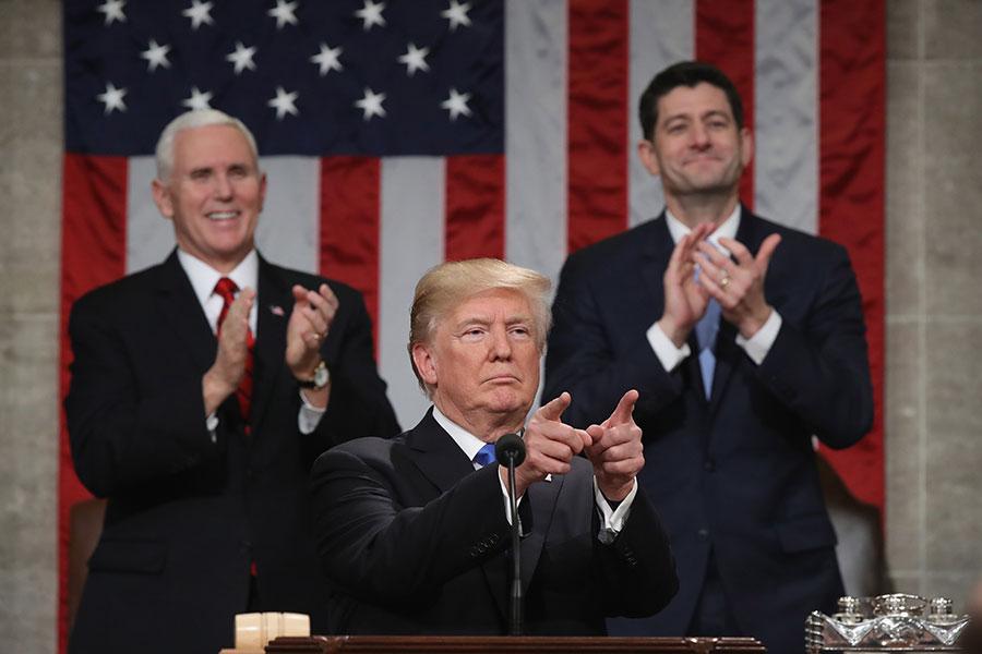 圖為美國總統特朗普1月30日在美國眾議院對全美民眾發表首次國情咨文。(Win McNamee/Getty Images)
