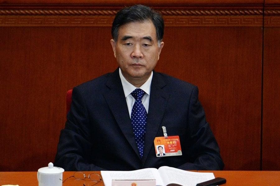 在3月2日召開的中共政協預備會上,政協十三屆一次會議主席團會議主持人汪洋開始接替俞正聲的工作。(Getty Images)