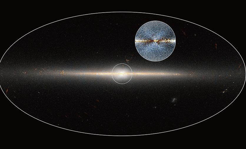 銀河系側面關,除了星系中心稍厚之外,其餘部份相比於其橫徑非 常薄。星系中心可見X形結構。(NASA)