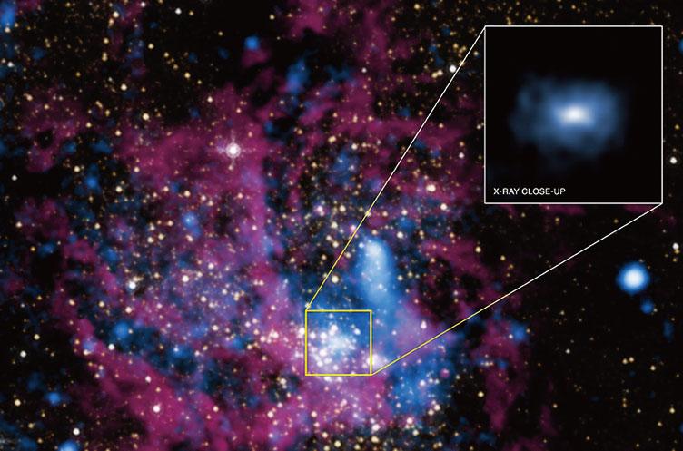 錢德拉X射線天文台(Chandra X-ray Observatory)拍攝的銀河系 中心巨大黑洞部位發出的X射線圖象。(NASA)