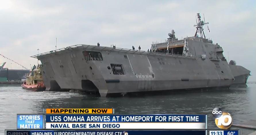 周六(2月3日),美國海軍最新戰艦「奧馬哈號」(USS Omaha)正式服役。(視像擷圖)