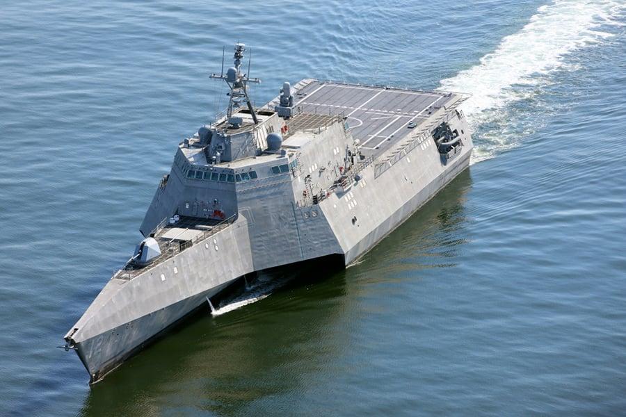 奧馬哈是一艘長218英尺的濱海戰鬥艦。(U.S. Navy photo courtesy of Austal USA/Released)