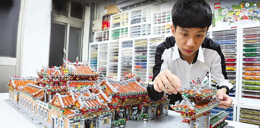 用四萬個樂高零件組合「龍山寺」 台灣青年樂高作品令人驚嘆