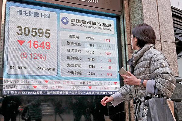 受美股暴跌影響,恒生指數昨日急挫逾1,600點,是恒指歷來第二大跌幅。(余鋼/大紀元)