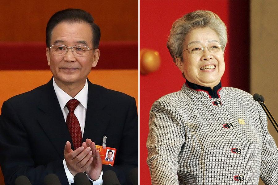 曾力阻薄熙來上位的中共前總理溫家寶(左)、前副總理吳儀(右),在重慶事件爆發6周年的前一天同時露面。(Feng Li, TOSHIFUMI KITAMURA/AFP/Getty Images/大紀元合成圖)