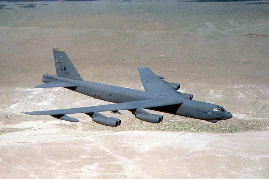 美國駐阿富汗軍隊星期二(2月6日)在一份聲明中表示,在過去的24小時內,美國空軍B-52戰機在阿富汗北部地區,向塔利班投下創紀錄數量的精確制導炸彈。(U.S. Air Force photo,維基百科公有領域)