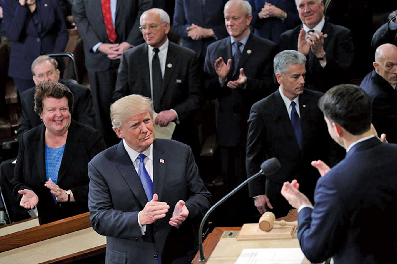 1月30日,特朗普在國會發表國情咨文時指出,中國和俄羅斯威脅美國價值觀。(Getty Images)