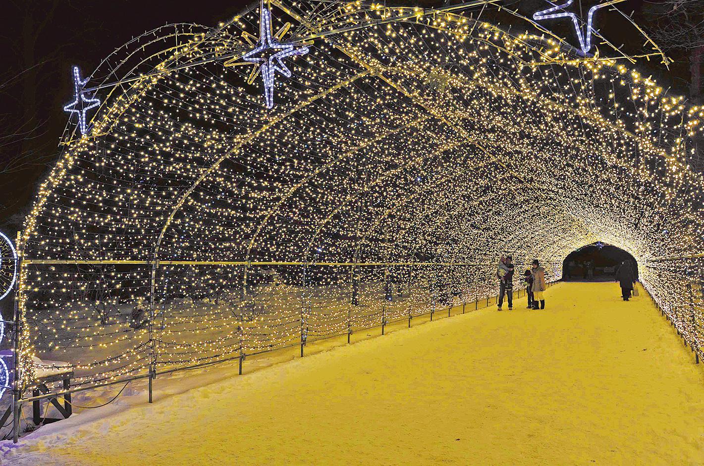 8萬個LED燈組成的燈光隧道。(倪君/大紀元)