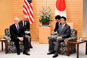 彭斯日本會安倍 重申將對朝祭最嚴厲制裁