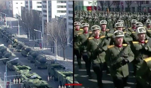 在南韓平昌冬奧會開幕前一天(2月8日),北韓獨裁者金正恩卻舉行了冬季閱兵儀式。(視像擷圖)