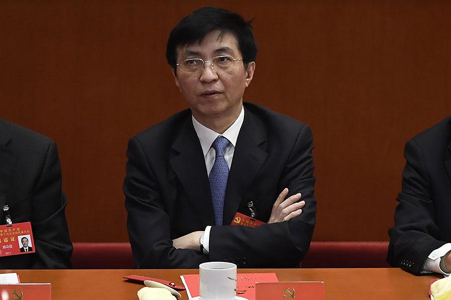 去年10月新任中共政治局常委王滬寧,是在中共前黨魁江澤民任內入駐中共中央,成為所謂的「中南海智囊」。(WANG ZHAO/AFP/Getty Images)
