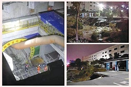 廣東佛山2月7日發生一起宗鐵施工隧道坍塌事故,目前已知曉有8人死亡,9人受傷,3人失蹤。(網絡圖片/新唐人合成)