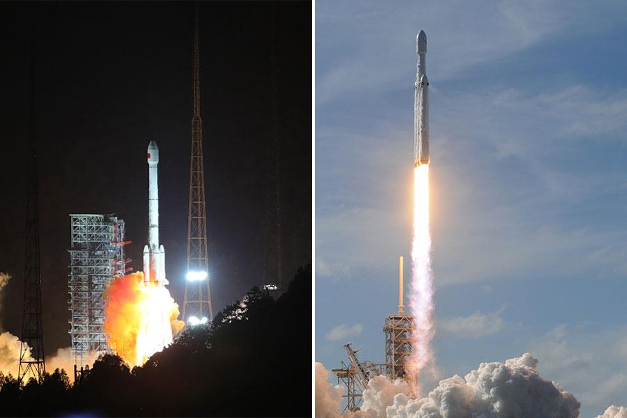 圖左為「長征三號乙」運載火箭在2017年11月5日升空;圖右為美國「獵鷹重型」超級火箭在2018年2月8日升空。(JIM WATSON/AFP, Wang Yulei/CHINA NEWS SERVICE/VCG via Getty Images/大紀元合成)