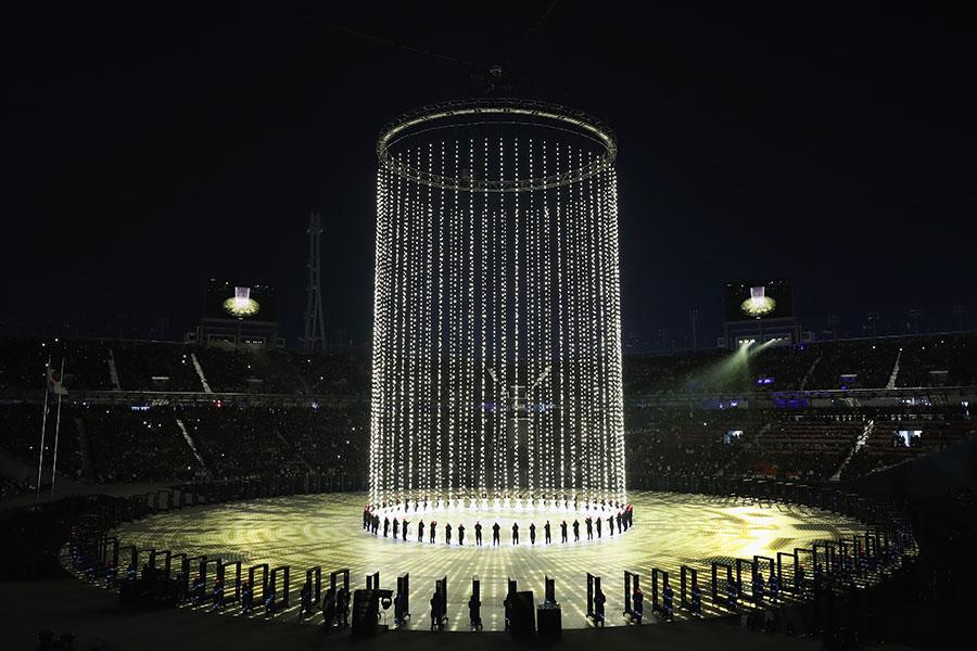 平昌冬奧會現場的立體光柱。(Ryan Pierse/Getty Images)