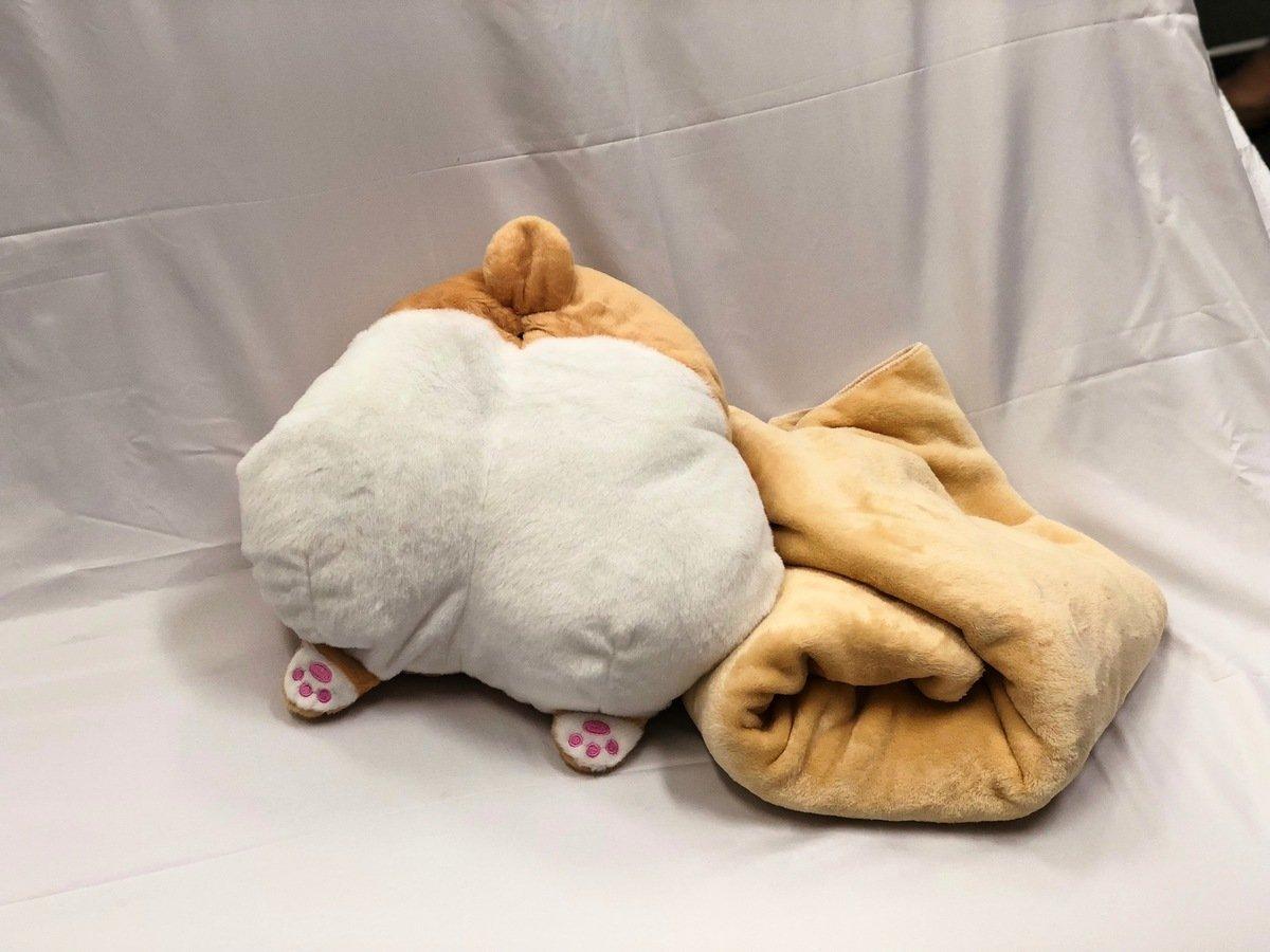 「三合一哥基patpat」除了可以當攬枕外,還可以取出毯子保暖。